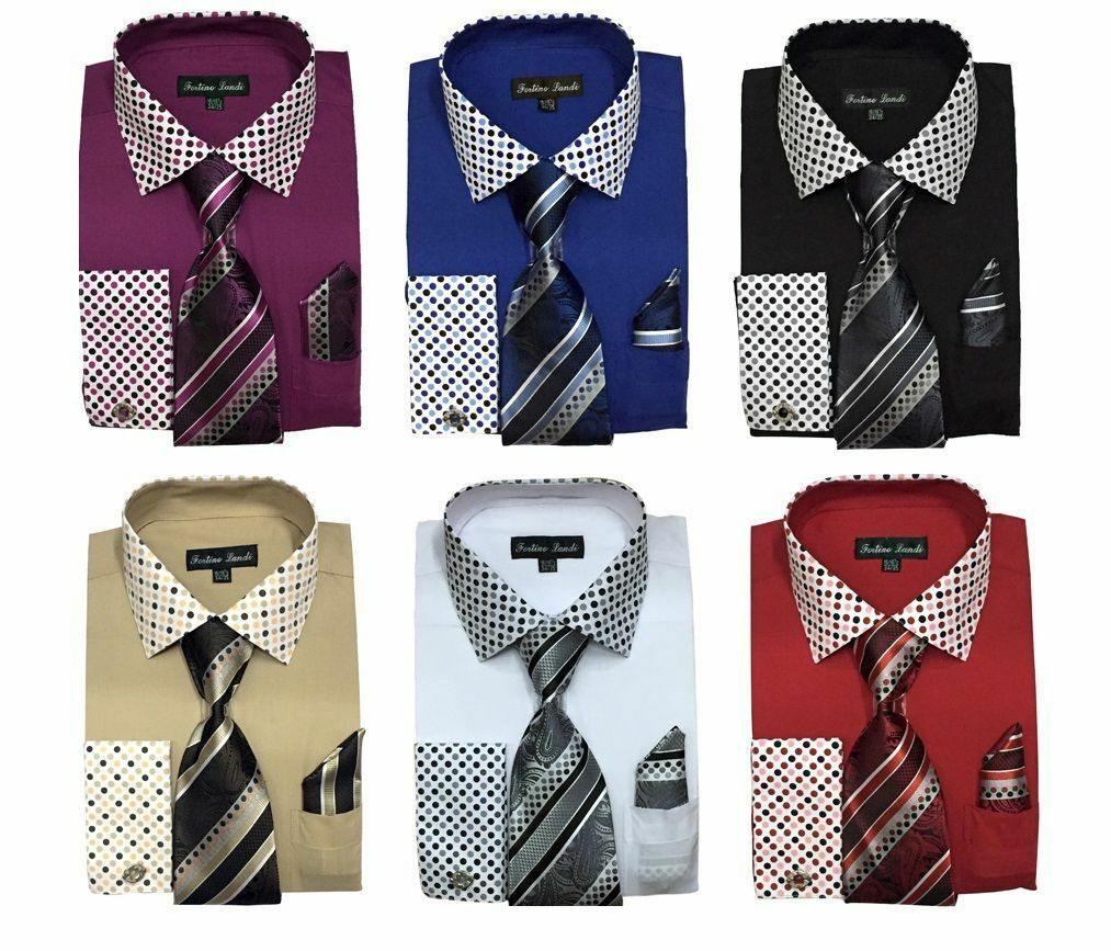 Men 39 s cotton blend french cuff dress shirt w tie hanky for Mens shirts with cufflinks