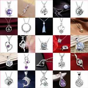 Women-Fashion-925-Silver-Crystal-Heart-Pendant-Necklace-Clavicle-Chain-Xmas-Gift