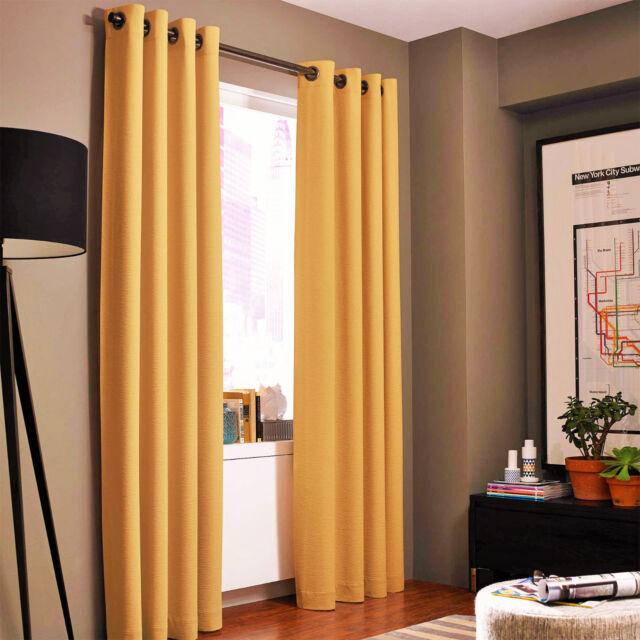 """2 DARK GOLD PANEL ROOM DARKENING 99/% BLACKOUT GROMMET WINDOW CURTAIN K34 95/"""""""