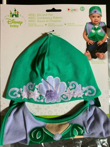 DISNEY BABY ARIEL BIB AND HAT SET SIZE 0-12 MONTHS BABY PRINCESS INFANT CAP CUTE
