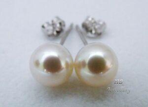 HS Japanese Akoya Cultured Pearl 8mm Stud Earrings 14K Yellow/ White Gold AAA