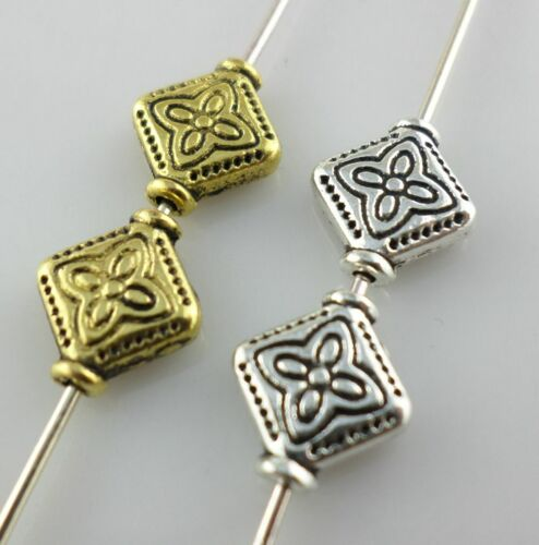 30//90pcs Tibetan Gold//Silver Flat Rhomboid Spacer Beads 9x10mm Jewelry Making