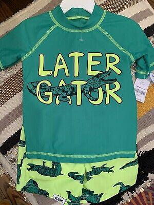 Carter/'s Toddler Boy 2 Piece Fish Rash Guard Top /& Swim Trunks Set Size 2T New