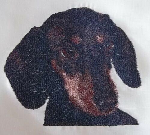 "Embroidered Quilt Block Panel /""Dachshund Dog/"" Cream 100/% Irish Linen Fabric"