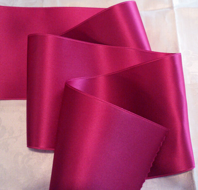 "BY THE YARD HOT PINK 1/"" WIDE SWISS DOUBLE FACE SATIN RIBBON-BEAUTY"