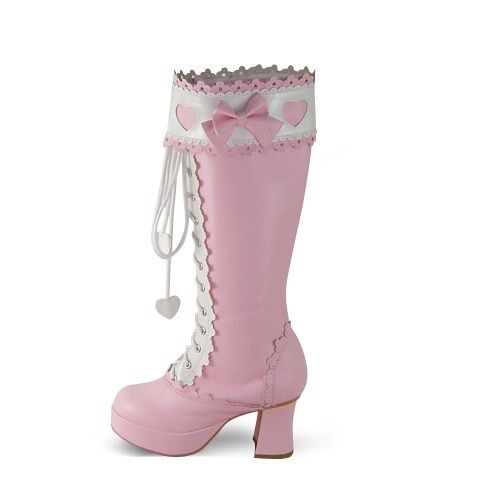 rosado sweet sweet sweet lolita botas bota zapatos zapatos nana KOSTÜM botas süß cosplay Bogen 589eed
