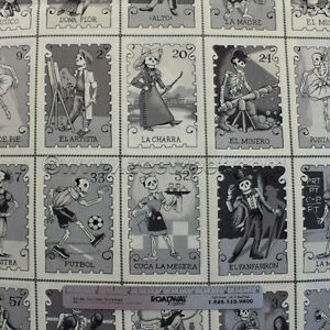 Alexander-Henry-CARTAS-MARCADAS-Gray-Cream-Quilt-Fabric-by-SECTION-Panel-Lottery