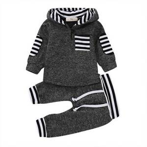 Newborn Baby Kids Boy Girl Hoodie Hooded Tops T Shirt Pants Outfit