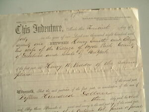 1871 Hyde Park,New York,(Signed by MANY PIONEERS)for land on Main St.,Indenture!