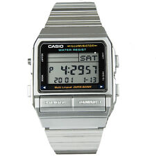 Casio Men's Silver Stainless Steel Quartz Watch Digital Data Bank Alarm DB380-1
