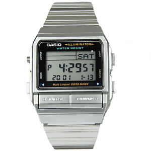 e3a171ab47f Casio Men s Silver Stainless Steel Quartz Watch Digital Data Bank ...