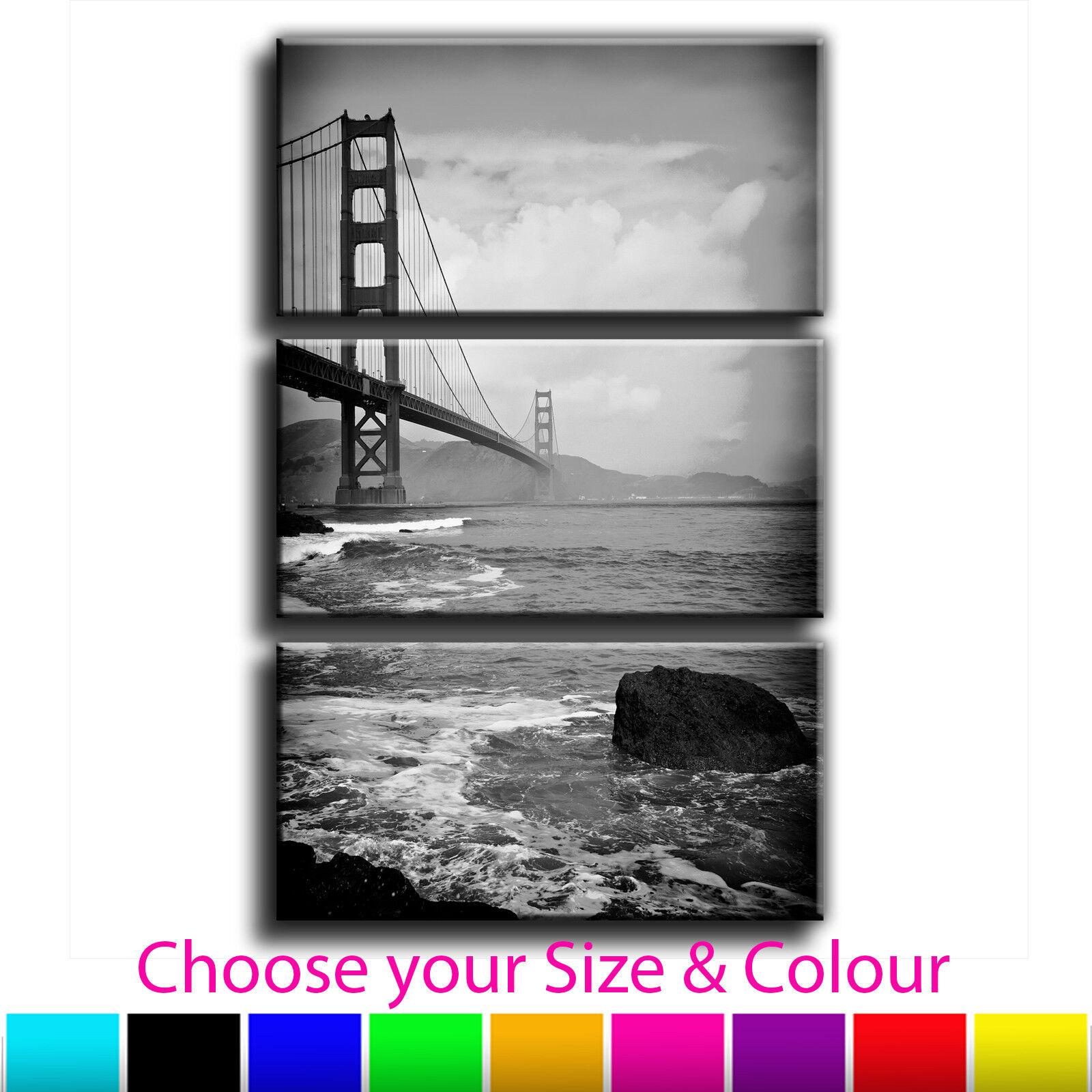 San Francisco Golden Gate Bridge Landscape Treble Canvas Art Picture Print 5--