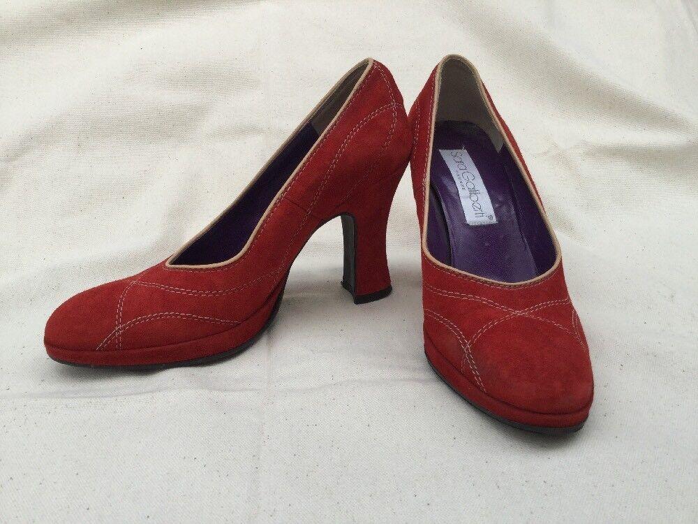Sara Galiberti Firenze Italia Para Mujer Rojo Rojo Rojo Ante Retro Zapatos Bombas De Puntada EU38 US7.5  en stock