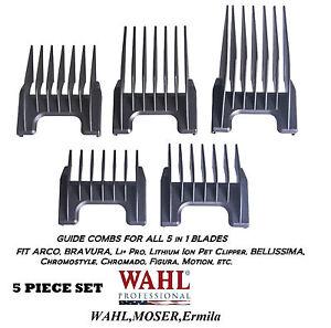 Wahl-Attachment-GUIDE-5-in-1-Blade-COMB-5pc-SET-Arco-Chromado-Bravura-Clipper