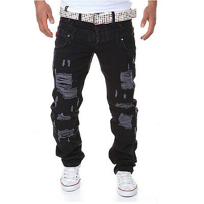Men Skinny Runway Straight Zipper Denim Pants Destroyed Ripped Jeans new