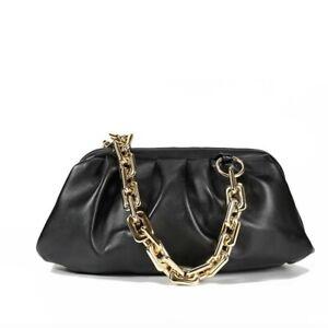 Women Cloud shape Soft Leather Hand bags - Black