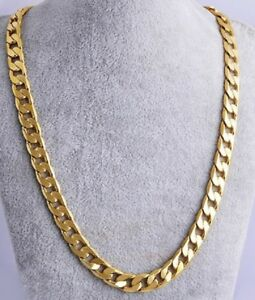 UK-Heavy-61cm-Necklace-Gold-Plated-Cuban-Curb-Link-Chain-Miami-24-039-inch-N1-UK