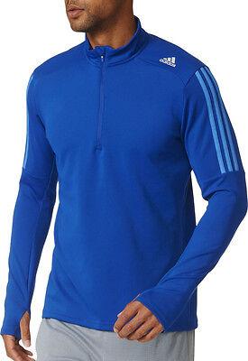 adidas Response Half-Zip Long Sleeve Mens Running Top - Blue