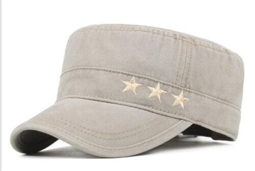 Men Women Adjustable Flat Top Hat Cotton Outdoor Visor Sunscreen Army Peaked Cap