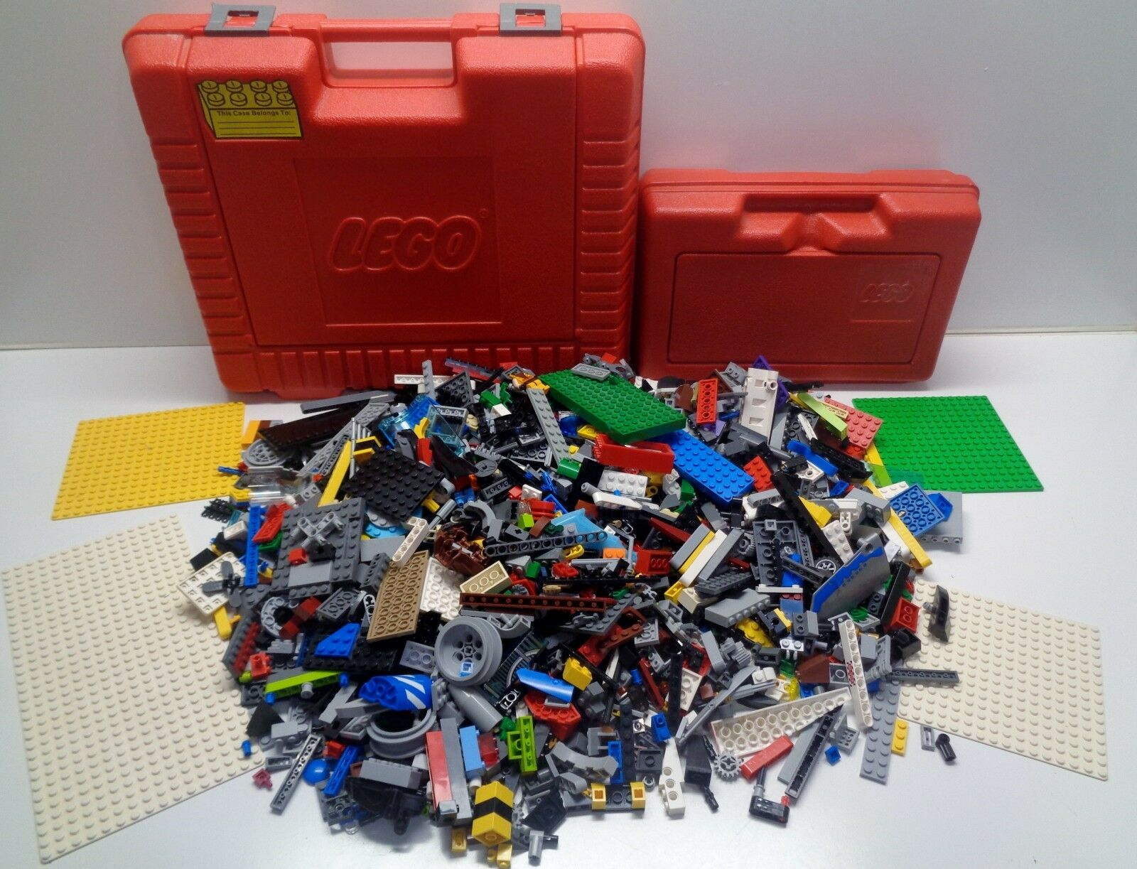 2 LEGO VINTAGE ROT Storage Containers & 4.75 pounds of Lego Parts Pieces
