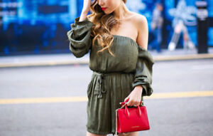 Off Playsuit Caught Us Nwt The Sleeve 6 Green Bardot Olive Pagliaccetto s Shoulder c16YgwnqE