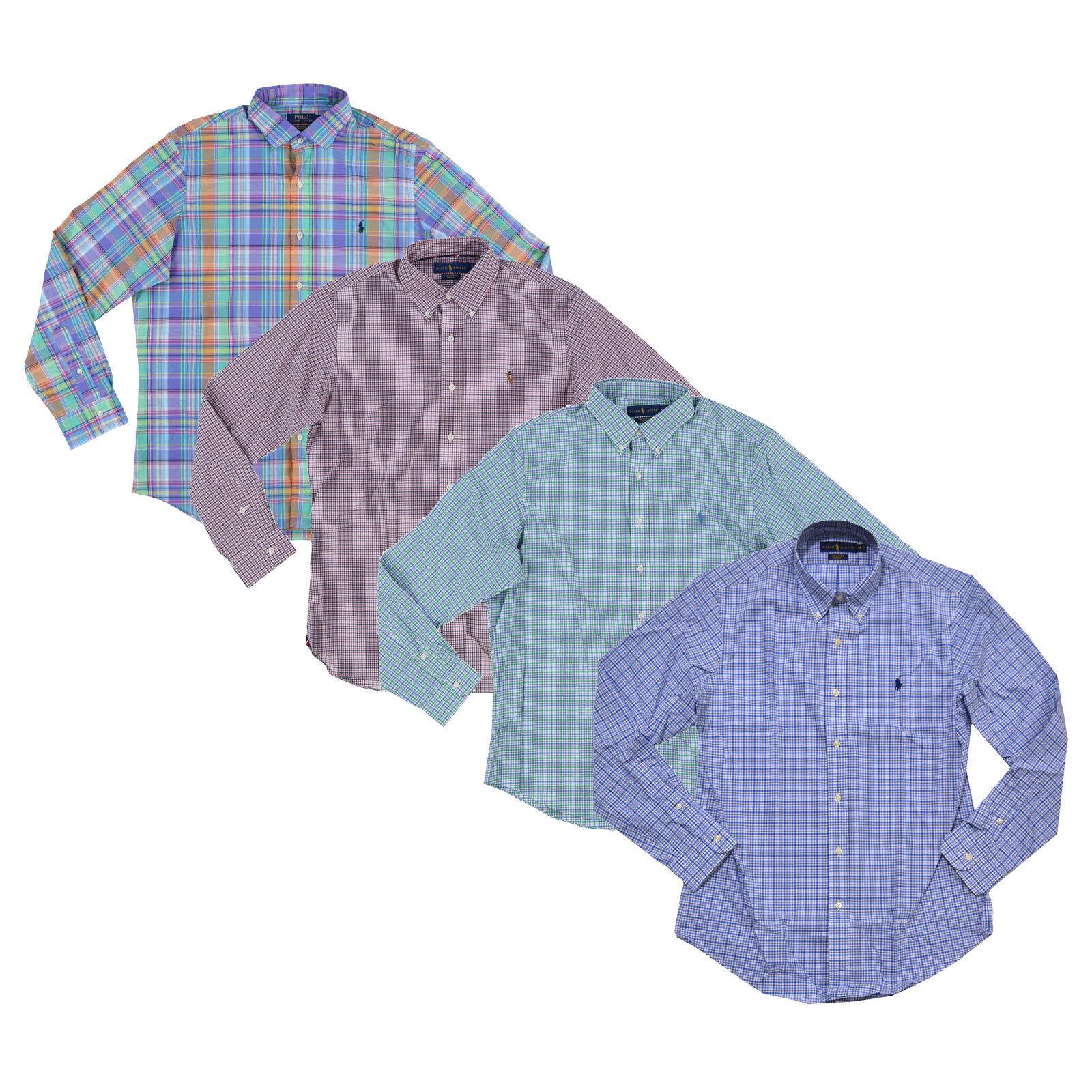 Polo Ralph Lauren Mens Long Sleeve Buttondown Lightweight Woven Cotton Stretch