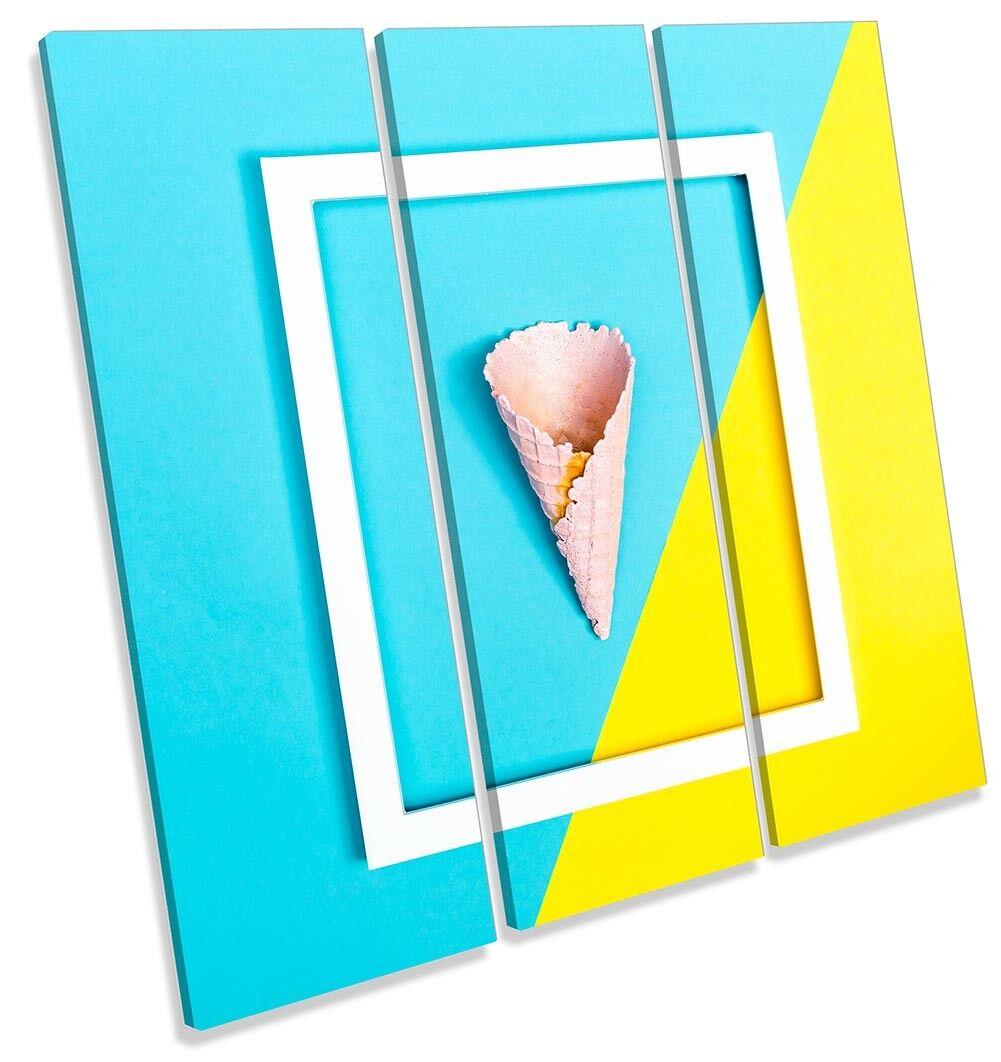 Blau Gelb Ice Cream Kitchen Picture TREBLE CANVAS WALL ART Print