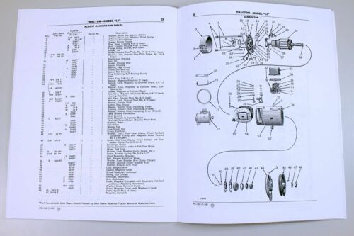 PARTS MANUAL FOR JOHN DEERE MODEL LI SERIES TRACTORS CATALOG EXPLODED VIEWS