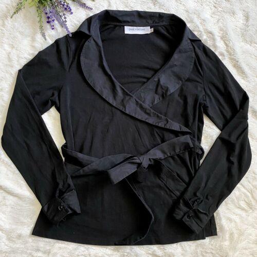 Anne Fontaine Louella Black Wrap Front Blouse Top