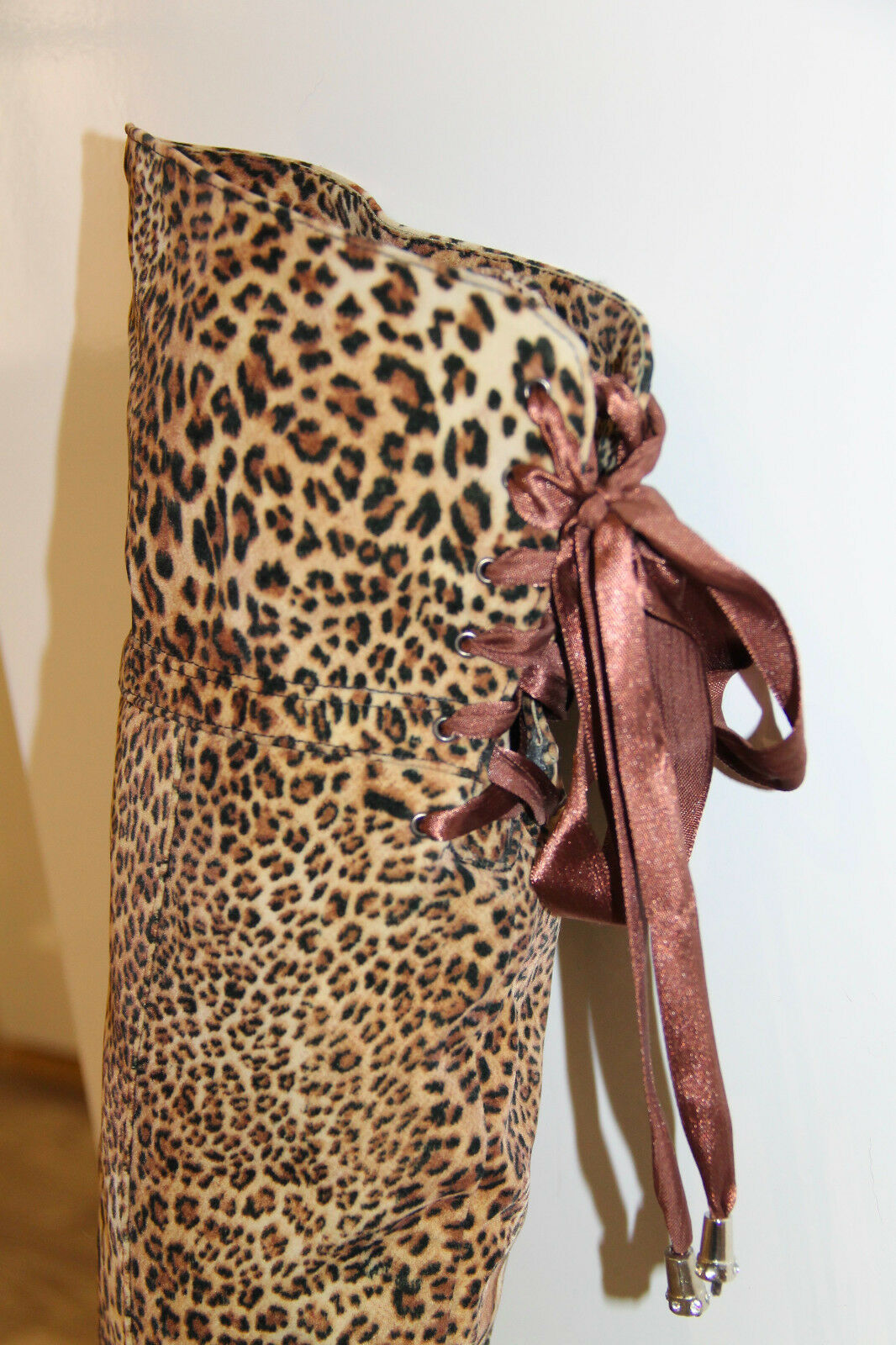 hübsch Stiefel Leopard gefüllt aus Stoff Rom Gestalter Größe 38 alle neu