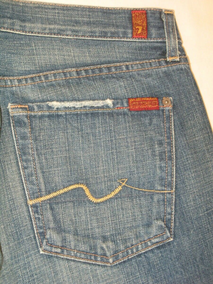 7 For all Mankind Jeans Mens Relaxed Distressed 100% Cotton 31 X 32 USA Made