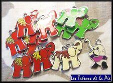 Lot de breloques (x13) - ÉLÉPHANT - Époxy - 25x25mm - Multicolore - 59g