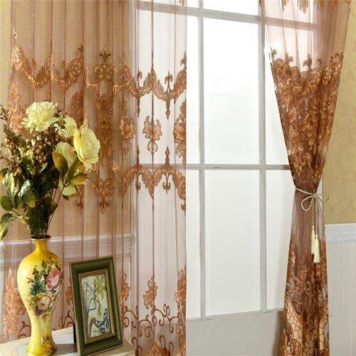 Beaded//No-Beaded Sheer Curtain Voile Window Curtains Gauze Drape with Eyelets