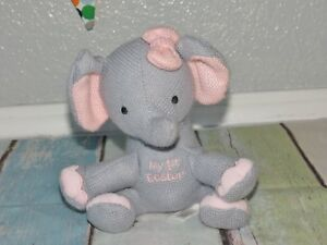 Dan-Dee-My-First-Easter-Elephant-Knit-Pink-Bow-8-034-Dandee-Rattle-Plush-Baby-Toy