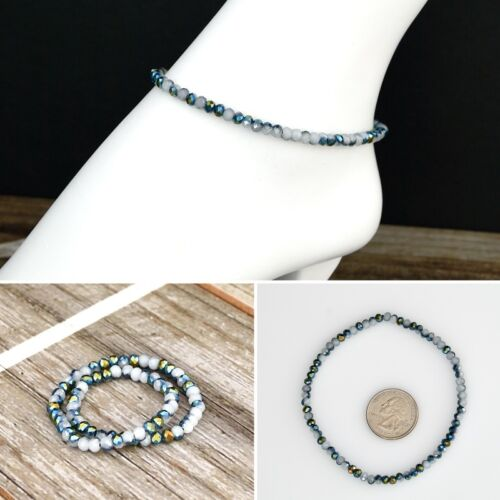 9 in Petite Multi-color Crystal Beads Stretch Ankle Bracelet