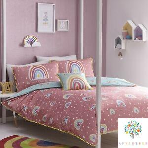 Appletree-RAINBOW-POM-Multicolour-Girls-100-Cotton-Duvet-Cover-Set