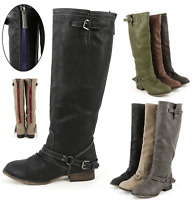 Womens Knee High Military Combat Buckle Fashion Boots Pu-leather Riding Zipper