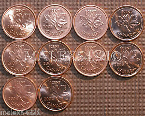2000-TO-2004-BU-CANADA-1-CENT-MINT-STATE-10-COINS-gt-gt-FREE-HIPPING-IN-CANADA-lt-lt