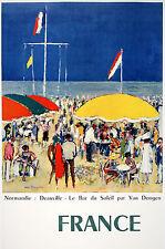 Original Vintage Poster Normandie Deauville by Kies Van Dongen 1960 French Beach