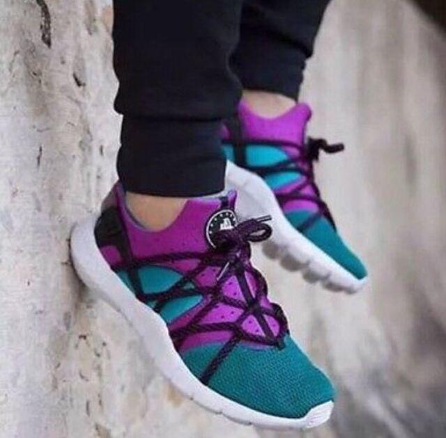 szczegółowy wygląd taniej sklep z wyprzedażami Nike Huarache NM 13 Emerald Green Purple Fuschia White MultiColor Run  705159-305