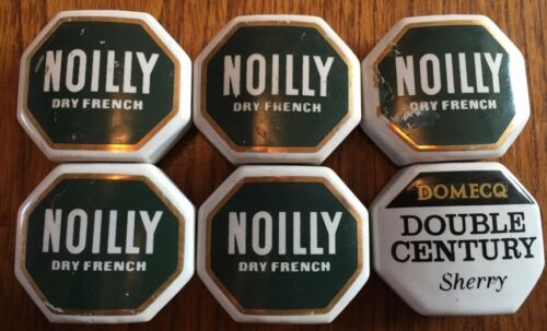 6 x Rare Vintage Sherry Ceramic Pourer Labels, Noilly & Domecq Double Century
