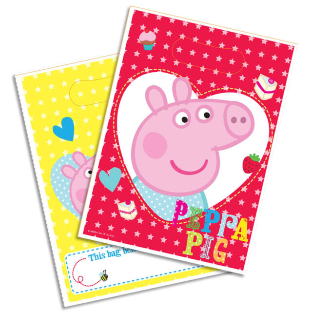 8 Peppa Pig RED Birthday Party Plastic Gift Treat Loot Bags