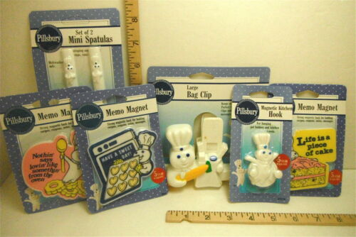 1992 Pillsbury Dough Boy Collection Carded Memo Magnets Hook Spatulas Clip