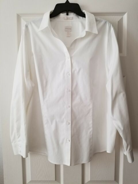 Chico's White Dress Shirt Sz 3,5  Cotton Long Sleeve Blouse Stretch No-Iron