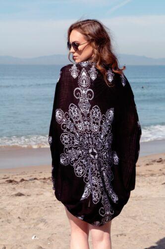 in Beach Boho Cocoon Top Kimono Lotto Blouse Coverup White di 5 Paisley chiffon Black 77Fa1wq