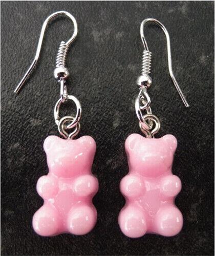 Handmade Yummy Gummy Bear earrings Solid Pink including free gift bag