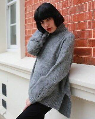Rabbit fur embellished Sleeves long knitted jumper wool blend funnel neck