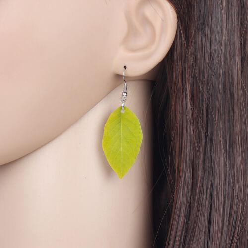 Acrylique Feuilles Vertes boucles d/'oreilles Goutte Dangle Nouveauté Plante Bijoux Pour Femmes Enfant Cadeau