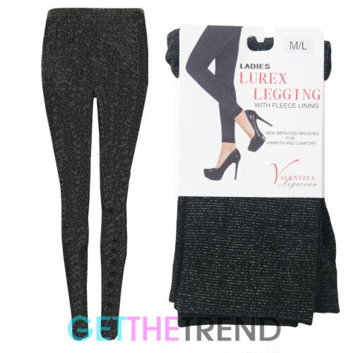 Womens Lurex Fleece Lined Leggings Ladies New Black Thermal Winter Shiny Legging