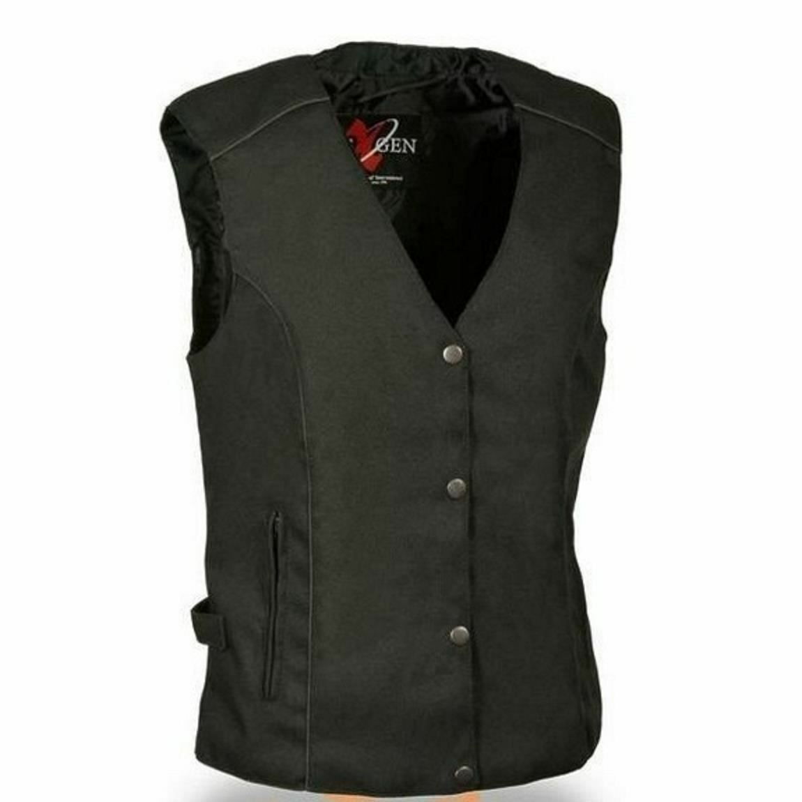 WOMENS MOTORCYCLE REFLECTIVE TEXTILE VEST w    STUDS & RED WINGS DESIGN - SA33 43fdf6